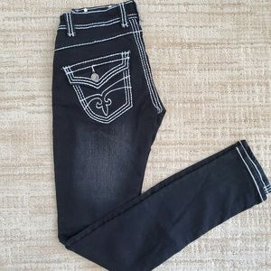 Black stretch straight leg jeans